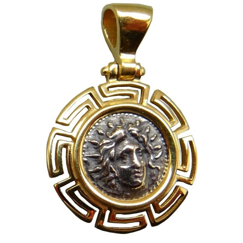 Pendentif Bijou Grec Apollon Argent 925 entourage ajouré hellénique plaqué or