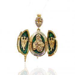 """Pendentif Orthodoxe Oeuf de Fabergé Vert """"Vierge et l'enfant"""""""