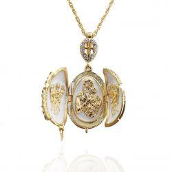 """Pendentif Orthodoxe Oeuf de Fabergé Blanc """"Vierge et l'enfant"""""""