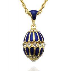 Pendentif Oeufs de Fabergé Bleu Saphir avec 31 Cristaux et sa chaîne OE15