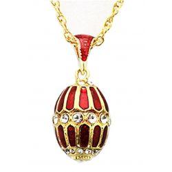 Pendentif Oeuf de Fabergé Plaquage Or et Email Rouge 31 Cristaux et sa Chaïne