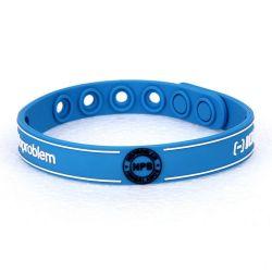 """Bracelet Silicone Bio éléments """"Noproblem"""" Bleu adapté à la pratique d'un sport"""