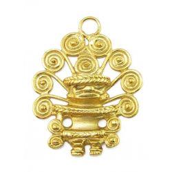 Pendentif anthropomorphe d'un Cacique Tairona avec diadème à neuf spirales