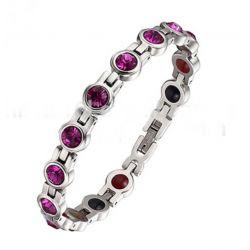 Très Joli Bracelet Magnétothérapie 4 aimants Féminin Cristaux Rose IndienSwarovski