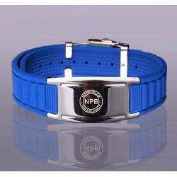 Bracelet Plaqué Argent et Silicone Bleu Bio éléments