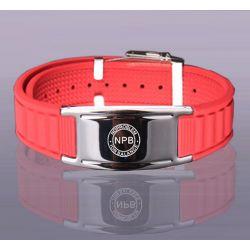 Bracelet Plaqué Argent et Silicone Rouge Bio éléments