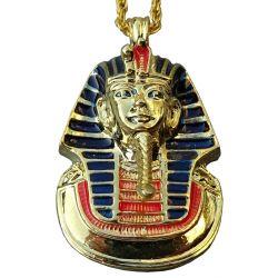 Joli Pendentif Masque d'or de Toutankhamon en relief