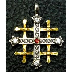 Rare Copie Croix de Jérusalem période médiévale avec Cabochons Diamant et Rubis CZ en argent et Or 24 carats