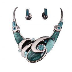 Collier BIB Design Haute Couture Galets Bleus Boucles oreilles et Cristaux Swarovski