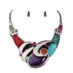 Collier Plastron Design Haute Couture Galets Multicolores Boucles oreilles et Cristaux Swarovski