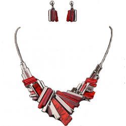 Collier BIB et Boucles d'oreilles Taille Basaltique Nuancées Rouge et Or gris