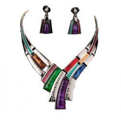 Trés Joli Collier Multicolore BIB Haute Couture Contemporaine Plaqué Or Blanc