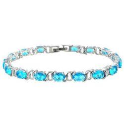 Bracelet Plaqué Or Blanc 15 Cristaux Turquoise CZ et Brillants Ronds