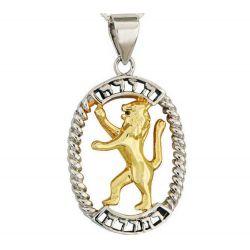 """Pendentif """"Lion de Judah"""" Or et Argent de Terre Sainte"""