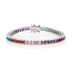 Bracelet Ligne de Carrés Rhodium Blanc 52 Cristaux CZ Multicolores