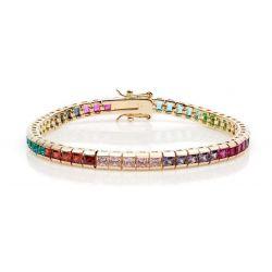 Bracelet Ligne de Carrés Rhodium Or Jaune 52 Cristaux CZ Multicolores