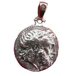 Pendentif Bijou Grec Philippe II de Macédoine Père d'Alexandre le Grand en Argent.Trés beaux reliefs