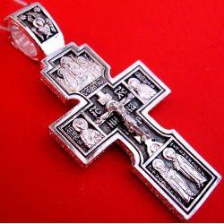 Grande Croix Crucifix Russe de Prière Sainte Trinité et Apôtre en argent DM94