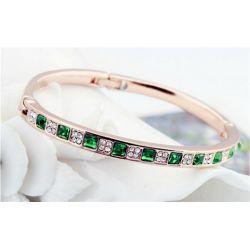 Bracelet ligne de carré plaqué or 18 carats Cristaux Swarovski Elements Vert et Diamant