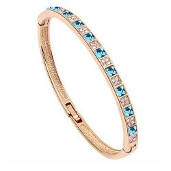Bracelet ligne de carré plaqué or 18 carats Cristaux Swarovski Elements Bleu et Diamant