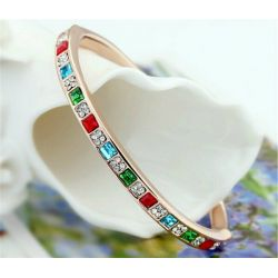 Bracelet ligne de carré plaqué or 18 carats Cristaux Swarovski Elements Multicolores