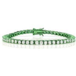 Rare Bracelet Ligne de Carrés (Rivière) Plaqué Violet 52 Cristaux AAA Diamants Taillés Ronds
