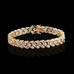 Elegant Bracelet 28 Chevrons Rhodium Plaqué Or 54 Cristaux CZ Diamant