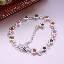 Bracelet Plaqué argent 12 cristaux CZ Goutte d'eau multicolores
