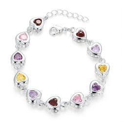 Bracelet Plaqué argent 11 cristaux CZ Coeur multicolores