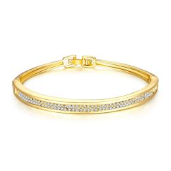 Bracelet Ovale Rigide Plaqué Or Jaune Cristaux Swarovski Elements Diamants 2 Rangs