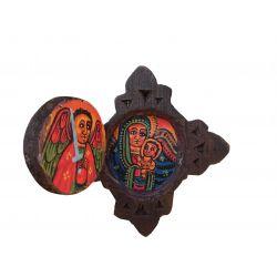 Croix Icône Pendentif Copte Ethiopienne en Bois Copte Orthodoxe