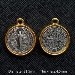 Trés belle Médaille Gouttes d'huile de Saint Benoit de Nursie Patriarche des Moines d'Occident