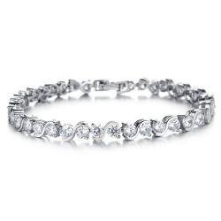 Bracelet Plaqué Or Blanc Cristal Swarovski SV01