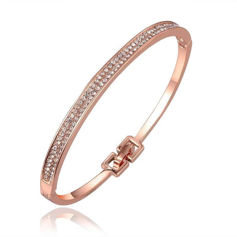 Bracelet Ovale Rigide Plaqué Or Jaune Cristaux Swarovski Elements Diamants 2  Rangs 53969fb60c44
