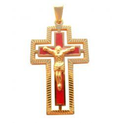 Croix Crucifix Design Contemporain avec chaîne Plaquée Or