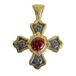 Croix Grecque Orthodoxe Byzantine avec Cabochon Phianite Saphir