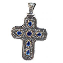 Croix Byzantine Argent/Or avec Cabochon Couleur Rubis