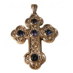 Croix Byzantine Argent/Or avec Cabochon Couleur spinelle