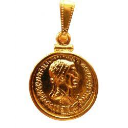 Pièce Pendentif Marc Antoine et Cléopâtre VII plaquée or 24 carats