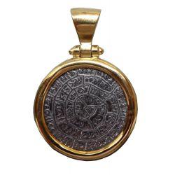 Pendentif  Enigmatique Disque de Phaistos en argent et Plaqué Or 24 carats 925 PHA01