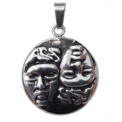 """Pendentif Pièce de monnaie Grecque """"Castor et Pollux Dieux Jumeaux"""" dans la Mythologie Grecque et sa chaîne."""