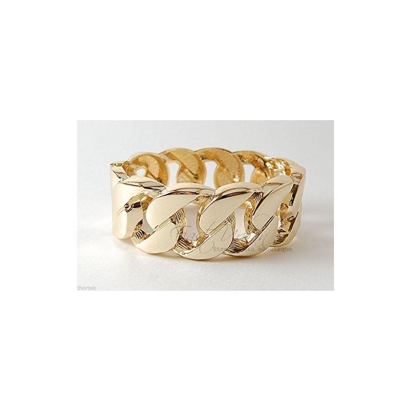 Bracelet Manchette Gourmette Rigide Extensible en 2 Parties Plaqué Or