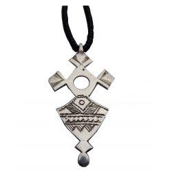 """Croix du Sud Touareg """"Takadea"""" en argent massif (""""teneghelt"""") avec collier à billes en Onyx TOU03"""