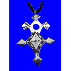 """Croix du Sud Touareg """"Inagabaret"""" en argent massif (""""teneghelt"""") avec collier à billes en Onyx TOU01"""