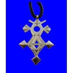"""Grande Croix du Sud Touareg """"Tahoua"""" en argent massif (""""teneghelt"""") avec collier à billes en Onyx TOU09"""