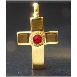 Trés Jolie Croix Chrétienne avec cabochon Rubis d'inspiration Romaine (3ème - 5ème siècle ap. J.-C)
