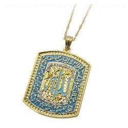 Pendentif avec Chaîne et Cristaux Allah Muharram d'Ali Plaqué Or 18 Carats
