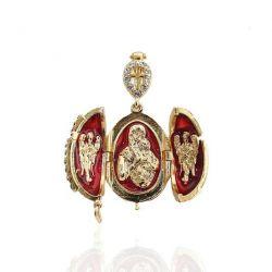 """Pendentif Orthodoxe Oeuf de Fabergé Rouge """"Vierge et l'enfant"""""""
