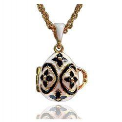 """Pendentif Oeuf de Fabergé Plaqué Or Email Blanc """"Pomme du jardin d'Eden"""""""