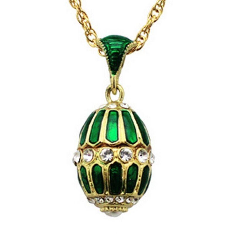 Pendentif Oeuf de Fabergé Plaquage Or et Email Emeraude/Blanc 32 Cristaux et sa chaîne OE8